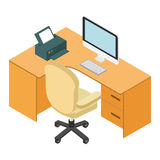 Computer desk workplace isometric 3d Royalty Free Stock Photos