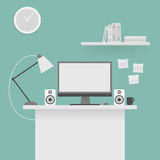Computer desk, workplace. Stock Images