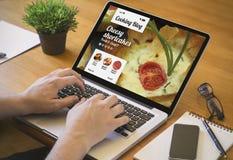 Computer desktop cooking blog royalty free stock image