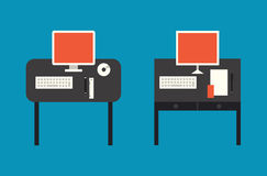Computer desktop flat illustration Stock Photo