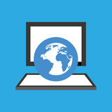 Computer desktop globe communication social network Royalty Free Stock Image