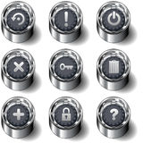 Computer desktop icon button set. Vector set of modern, round buttons with nine key computer desktop, including file types, power, refresh, help, delete, secure Royalty Free Stock Photo
