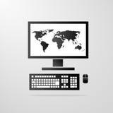 Computer desktop icon world map vector. Computer desktop icon world map on screen gray vector illustration Stock Photography