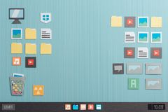 Computer desktop interface with icons. Launch bar and apps, paper cut and collage composition royalty free stock photos