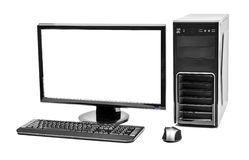 Computer. Desktop computer and keyboard and mouse on white stock images