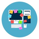 Computer Desktop With Paper Notes Icon On Blue Round Background Royalty Free Stock Image