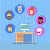 Computer Desktop Profile Icons Group Social Network Communication Connection Concept Royalty Free Stock Images