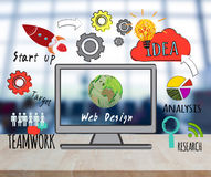 Computer on desktop with web design website homepage Royalty Free Stock Image