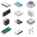 Computer detailed isometric parts Royalty Free Stock Photos