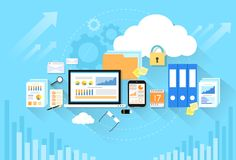 Computer device data cloud storage security flat. Design vector illustration Royalty Free Stock Photos