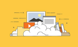 Computer device data cloud storage security flat design vector illustration. Flat vector illustration. Concept illustration of cloud storage Stock Photos