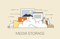 Computer device data cloud storage security flat design vector illustration. Flat vector illustration. Concept illustration of cloud storage Stock Photo