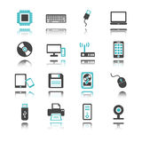 Computer and device icons with reflection Stock Image
