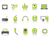 Computer device icons set ,green series Stock Image