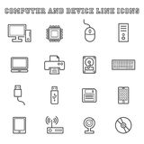 Computer and device line icons Stock Photography