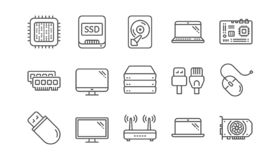 Computer device line icons. Motherboard, CPU and Laptop. Linear icon set. Vector vector illustration