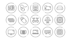 Computer device line icons. Motherboard, CPU and Laptop. Linear icon set. Vector stock illustration