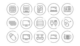 Computer device line icons. Motherboard, CPU and Laptop. Linear icon set. Vector royalty free illustration