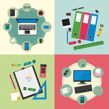 Computer device, office objects and business working elements. Set of flat design concept icons for web, mobile services and apps. Computer device, office Stock Images
