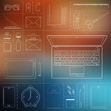 Computer device, office objects and business working elements royalty free illustration