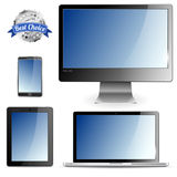 Computer Devices. Set of Computer Devices - Monitor, Laptop, Tablet PC, Smartphone,  on white background Royalty Free Stock Photo