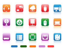Computer devices and components buttons icon Royalty Free Stock Photos
