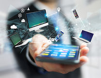 Computer and devices displayed on a futuristic interface with in. View of a Computer and devices displayed on a futuristic interface with interantional network Stock Photo