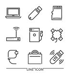 Computer devices Icons. PC Accessories  thin line vector Royalty Free Stock Photography