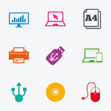 Computer devices icons. Printer, laptop signs. Stock Images
