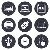 Computer devices icons. Printer, laptop signs Royalty Free Stock Image