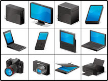 Computer and devices icons for structure. Computer and devices for structure like 3D.(black royalty free illustration
