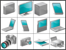 Computer and devices icons for structure. Computer and devices for structure like 3D.(silver stock illustration
