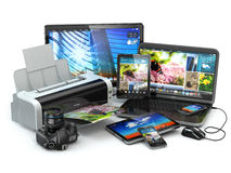 Computer devices. Mobile phone, laptop, printer, camera and tabl Royalty Free Stock Images