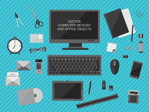 Computer devices and office objects Royalty Free Stock Images
