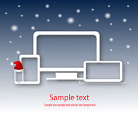 Computer devices sale with new year background Stock Photography