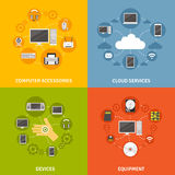 Computer Devices And Service Icon Set Stock Images