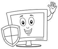 Computer di coloritura con lo schermo di antivirus Fotografia Stock Libera da Diritti