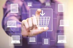 Computer di media di acquisto di web del collegamento del bottone di affari Fotografie Stock