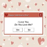 Computer Dialogue Box Happy Valentines Day vector illustration