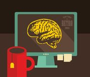 Computer with digital brains on the screen. Stock Photos