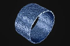 3d rendering, cube bricks abstract background, dark background royalty free illustration