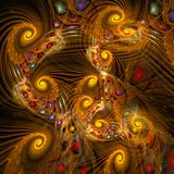 Computer digital fractal art abstract factals oriental yellow chaos with color pearls vector illustration