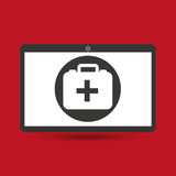 Computer digital healthcare first aid box Royalty Free Stock Photos