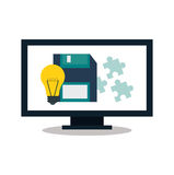 Computer and digital marketing design. Computer bulb and diskette icon. digital marketing media and seo theme. Colorful design. Vector illustration royalty free illustration