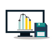 Computer and digital marketing design. Computer and diskette icon. digital marketing media and seo theme. Colorful design. Vector illustration stock illustration