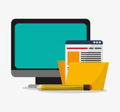 Computer and digital marketing design. Computer and file icon. Social media and digital marketing theme. Colorful design. Vector illustration Royalty Free Stock Images