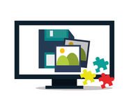 Computer and digital marketing design. Computer puzzle pictures and diskette icon. digital marketing media and seo theme. Colorful design. Vector illustration royalty free illustration