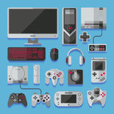 Computer, digital video online game console, game tools vector set Royalty Free Stock Images