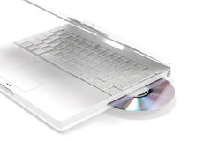 Computer disc drive. With DVD isolated on white Stock Images