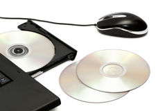 Computer disk drive and mouse Royalty Free Stock Photography